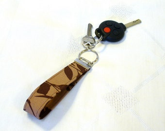 CLEARANCE SALE Wristlet Key Fob Joel Dewberry Ginseng Fabric Wildflowers Mocha Espresso Brown Keychain Keyring Fob