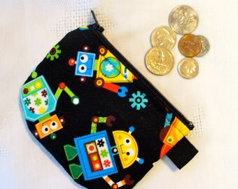 Kawaii Robots Mini Coin Purse Little Zipper Change Purse Handmade Cute Mini Coin Purse MTO