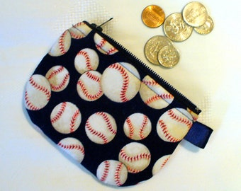 Baseballs Mini Coin Purse Little Zipper Change Purse Navy Blue Red White Handmade MTO