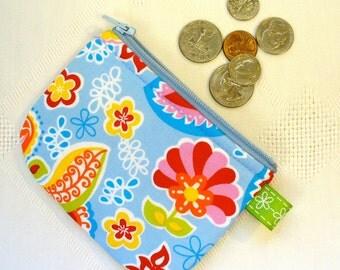 Mini Coin Purse Mod Blue Red Paisley Zipper Change Purse Zipper Pouch Handmade MTO