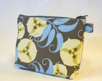 Amy Butler Fabric Gadget Pouch Cosmetic Bag Zipper Pouch Makeup Bag Cotton Zip Pouch Passion Vine Nigella Gray Blue MTO