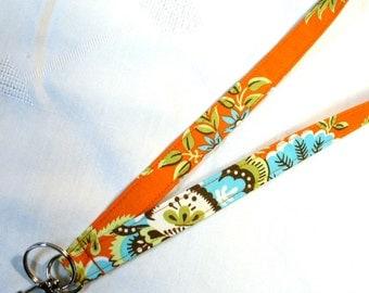 Amy Butler Fabric Lanyard ID Badge Holder Breakaway Lanyard Key Ring Fob Royal Garden Clay Belle Orange Turquoise Blue MTO
