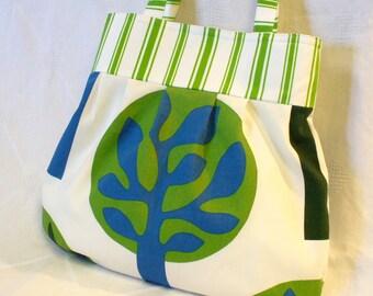 CLEARANCE SALE! IKEA Fabric Purse Carrie Bag Large Pleated Purse Trees Eco Print Green Blue White Shoulder Bag
