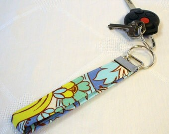 Wristlet Key Fob Amy Butler Fabric Womens Keyring Keychain Temple Tulips Azure Blue Yellow Soul Blossoms Handmade MTO