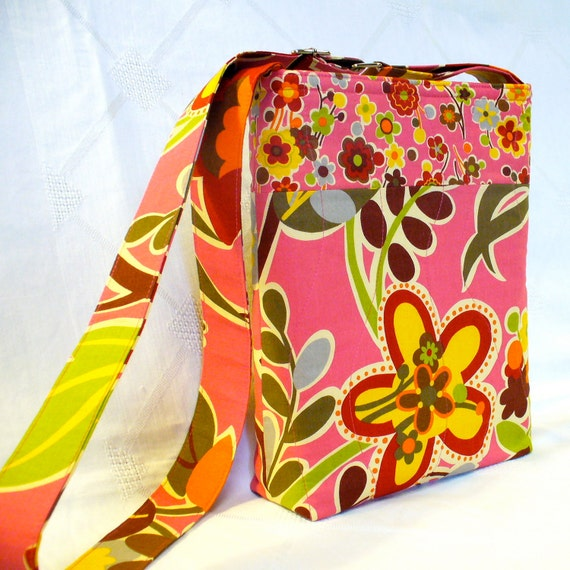 Small Messenger Bag Sanae OZ Fabric Pink Floral Purse Adjustable Strap Cross Body Lil Bella Handmade