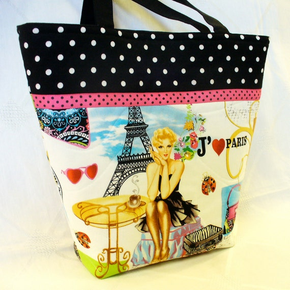 I Love PARIS Tote Bag Handbag Purse Handmade Eiffel Tower Timeless Treasures Fabric