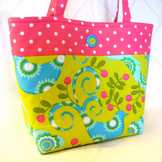 20% OFF Tote Bag Pretty Bird Lime Hot Pink Handbag Purse Michael Miller Fabric Turquoise Blue Handmade by Heart2Handbags on Etsy