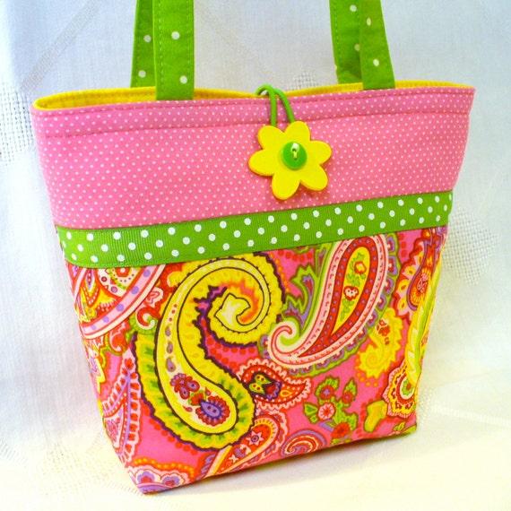 Kids Handbag Little Girls Purse HOT PINK Yellow Paisley Mini Tote Bag Small Childs Handmade by Heart2Handbags on Etsy