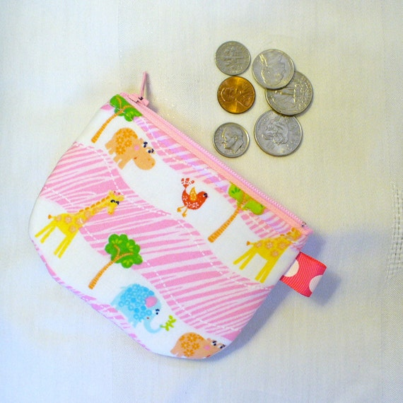 Mini Fabric Coin Purse Zoo ANIMALS Zipper Change Purse Handmade Elephant Giraffe Bird Hippo