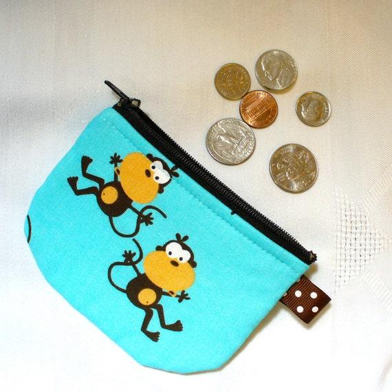 Mini Fabric Coin Purse Funny MONKEYS Zipper Change Purse Teal Brown Cute Comical Handmade MTO
