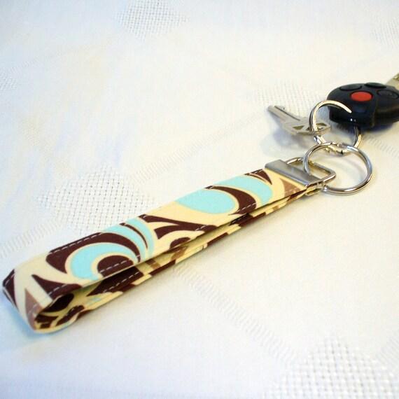 Wristlet Key Fob Joel Dewberry Fabric Spade Damask Keyring Keychain Fabric Key Fob Glacier Blue Brown