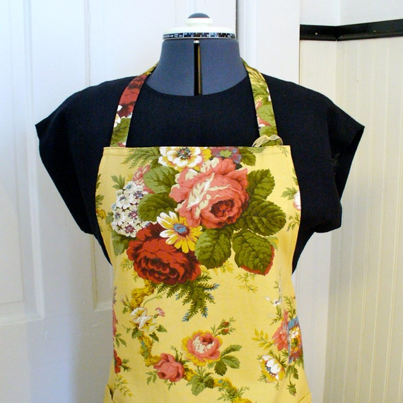 Womens Apron SIZED PETITE Full Chefs Apron Floral Bouquet Small Size Full Apron