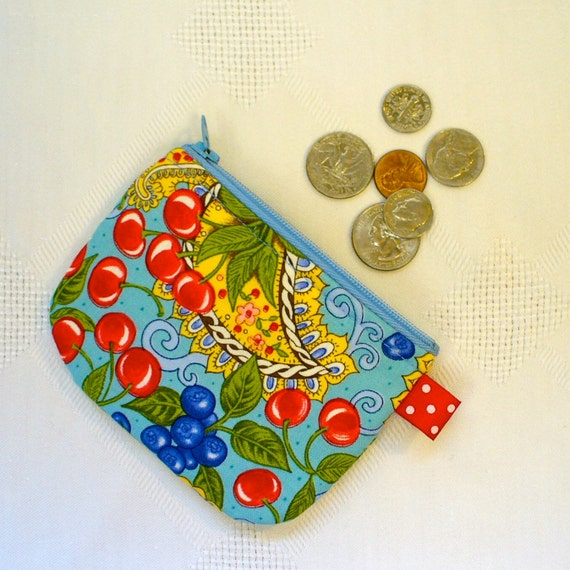 Mini Coin Purse Blue Paisley Cherries Zipper Change Purse Handmade Fabric Coin Purse Red Yellow Green