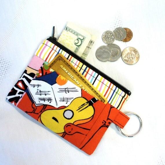 Womens Coin Purse Card Slot Key Ring Fob Wallet Henri Matisse Guitar Painting Vin en Rose Fabric Alexander Henry Bright