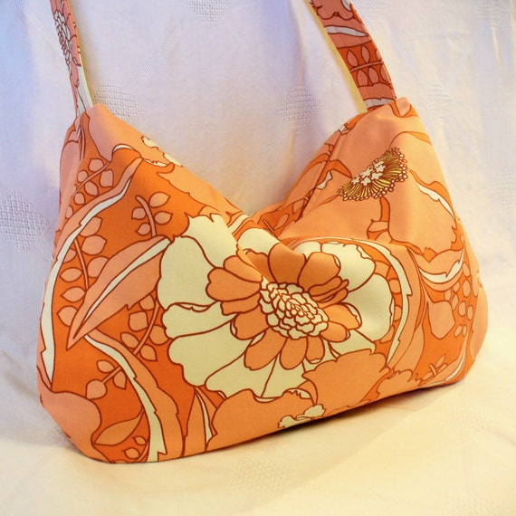 Hobo Bag Slouch Purse LULU Bag Amy Butler Fabric Dream Poppies Tangerine Coral Peach August Fields Fabric