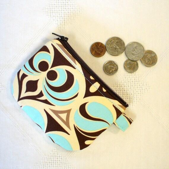 Mini Coin Purse Zipper Change Purse Joel Dewberry Spade Damask Brown Glacier Aqua Blue