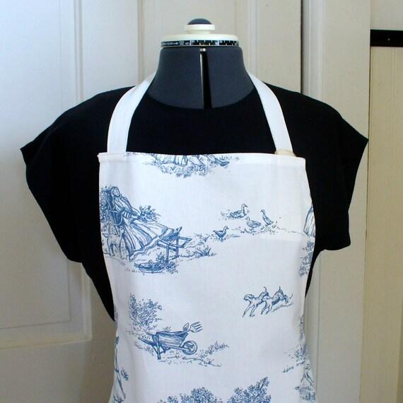 Full Chefs Apron SIZED AVERAGE Womens Apron Blue White TOILE Medium Size Full Apron