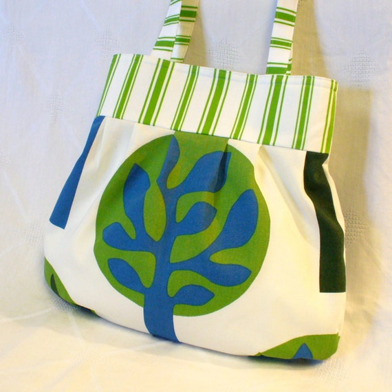 CLEARANCE SALE! IKEA Fabric Purse Carrie Bag Large Pleated Purse Trees Eco Print Green Blue White Shoulder Bag