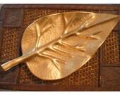 Large solid Brass Leaf ... vintage tray Hollywood Regency