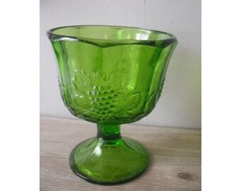 vintage Spring Green Grape compote .... pedestal dish