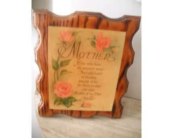 vintage MOTHER plaque ... wood Roses Motto