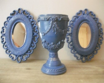 SALE Romantic  upcycled  SEASIDE Cottage Blue Grouping ... Mirrors and Pedestal vase 3 pcs ornate shabby chic