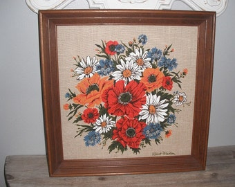 GORGEOUS Vintage Mod floral on linen screen print Framed and signed Robert Martin .. red orange blue white