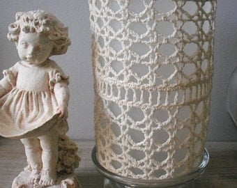 vintage hand crochet Doilie over frosted glass candle holder .... rustic farm house cottage chic
