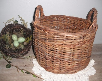beautiful vintage woven basket with handles .... cottage farm house ...  rustic