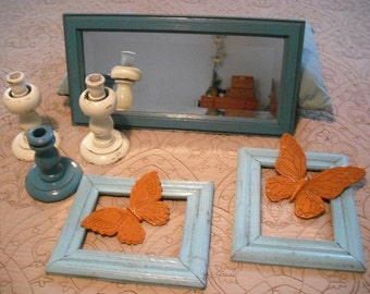 8 pc wall grouping .... AQUA Turquoise Blue Orange Cream ... Aqua Mirror Frames chunky Candle holders Butterflies