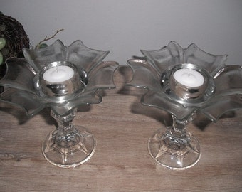 2 upcycled flower pedestal candle holders .. stands ... wedding whimsical