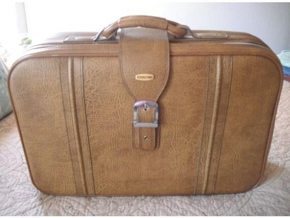 RESERVED for Erin Potter ......handsome vintage Flying Time Suitcase ..... steam punk travel case mens brown .. Mad Max SALE