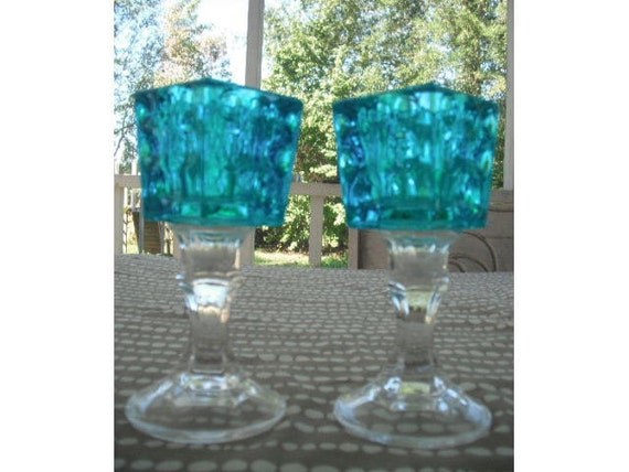 Upcycled sparkling Aqua Candle holders .... Wedding or Beautiful Display