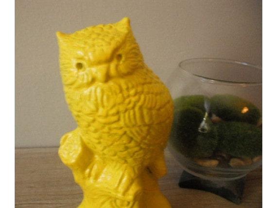 hOOty hoo Upcycled Yellow OWL  .... chalkware Mid Century Modern