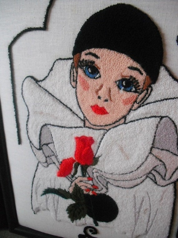 2 Dramatic Black white embroidered Pierrot Harlequin wall hangings ... Red and Yellow rose Embroidery