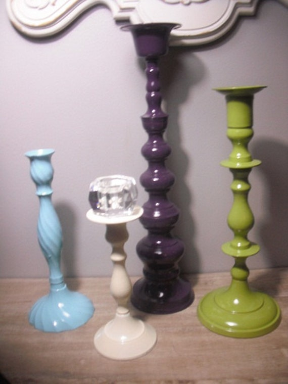RESERVED for Katie.........................4 upcycled Refreshing candle grouping ... purple green ivory aqua .... Cottage chic