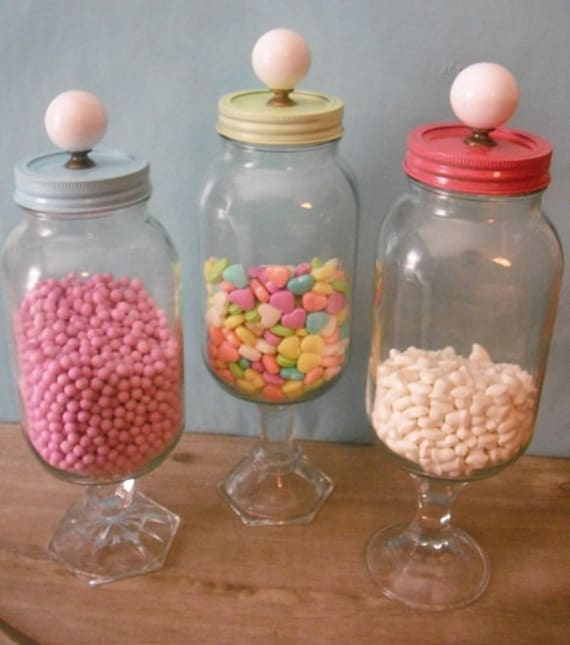 3 Upcycled Wedding Candy Buffet Jars Fun Party Candy Bar