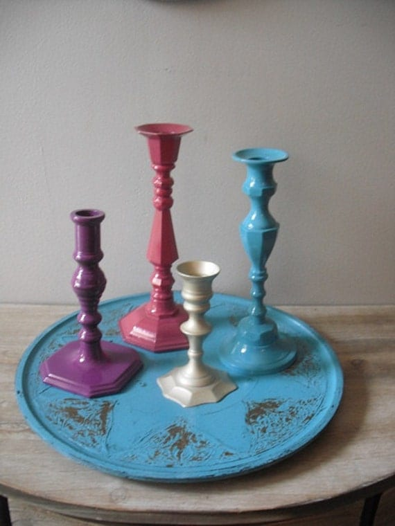 Upcycled   - Jewel Tones - painted candle holder collection - Tray - BOHO Chic Aqua