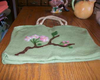 Apple Blossoms on Lt Green Felted Wool Purse