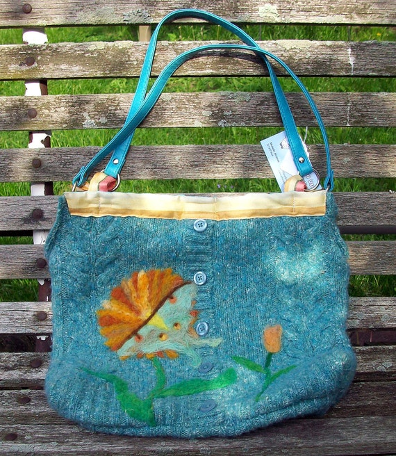 Luna Moth on Gerbera Daisy Wool Purse