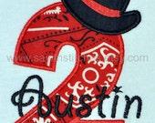 Personalized cowboy hat number birthday tshirt or bodysuit