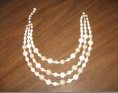 Vintage Three Strands Pearl and Beaded Necklace