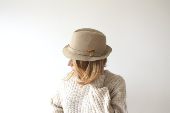 SALE Vintage 1960's BILTMORE Beige and Feathers Fedora Hat