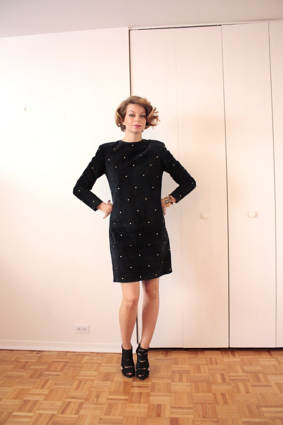 SALE Vintage 1980's Navy LEATHER Suede STUDDED Dress (Size Medium)