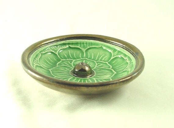 Jade Green  Lotus Incense Burner 4 1/2 inch