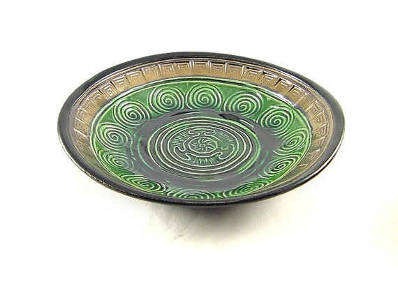 Hecate's Wheel and Spiral Offering Bowl Handmade Ceramic Pottery