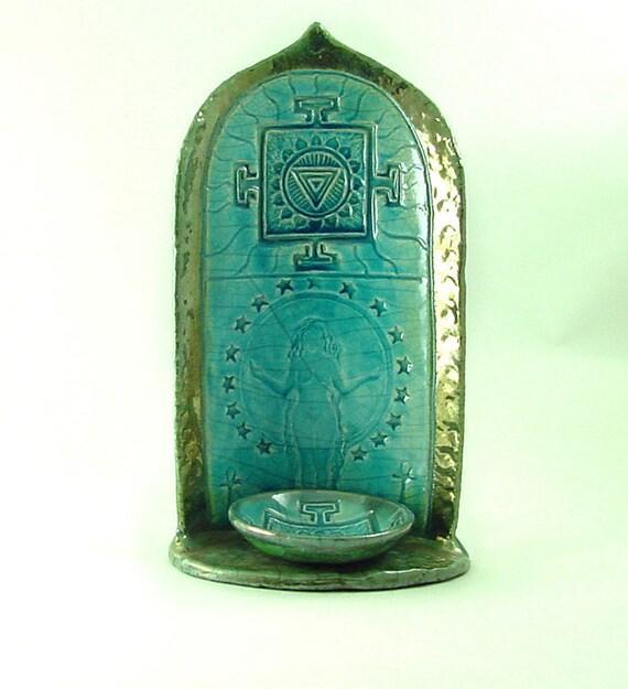 Goddess Gaia Yantra Raku shrine  Handmade Pottery