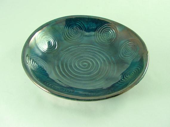 SPIRAL RAKU Bowl Handmade Pottery