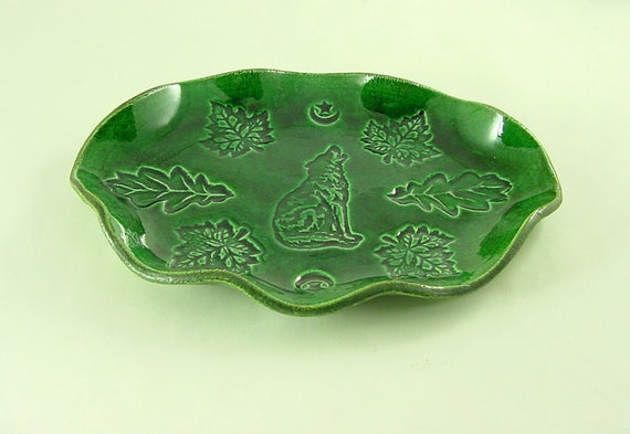 WOLF and Moon Wavy Dish