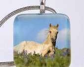 Image in the Lupines - Wild Horse - Photo Glass Tile Pendant